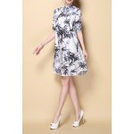Stylish Stand Neck Half Sleeve Bamboo Leaves Print Women's Dress deal