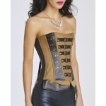 cheap Punk Style Buckle Design Patchwork Stud Embellished Women's Corset