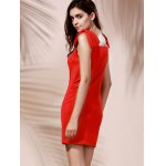 Chic Women's Square Neck Red Sleeveless Dress deal