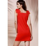 Chic Women's Square Neck Red Sleeveless Dress for sale
