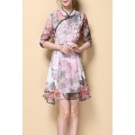 Stylish Stand Neck Half Sleeve Vintage Printed Women's Dress