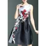 Stylish Round Neck Sleeveless Elegant Flower Print Women's Dress deal