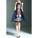 Stylish Round Neck Sleeveless Sweet Floral Print Women's Dress for sale