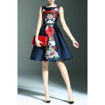 best Stylish Round Neck Sleeveless Sweet Floral Print Women's Dress