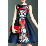 Stylish Round Neck Sleeveless Sweet Floral Print Women's Dress deal