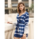 cheap Stylish Long Sleeve Lace Embellished Striped Women's Dress