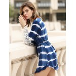 Stylish Long Sleeve Lace Embellished Striped Women's Dress deal