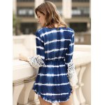 Stylish Long Sleeve Lace Embellished Striped Women's Dress for sale