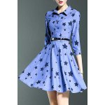 Stylish Shirt Collar 3/4 Sleeve Fitting Star Print Women's Dress for sale