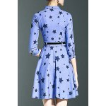 cheap Stylish Shirt Collar 3/4 Sleeve Fitting Star Print Women's Dress