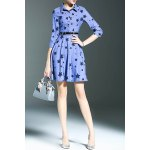Stylish Shirt Collar 3/4 Sleeve Fitting Star Print Women's Dress photo