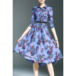 Stylish Shirt Collar 3/4 Sleeve Single-Breasted Printed Women's Dress