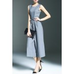 Stylish Round Neck Sleeveless Belted Solid Color Women's Jumpsuit photo