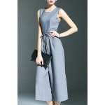 Stylish Round Neck Sleeveless Belted Solid Color Women's Jumpsuit deal