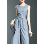 Stylish Round Neck Sleeveless Belted Solid Color Women's Jumpsuit for sale