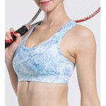 cheap Stylish Scoop Neck Print Hollow Out Racer Back Sports Bra For Women