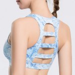 Stylish Scoop Neck Print Hollow Out Racer Back Sports Bra For Women deal