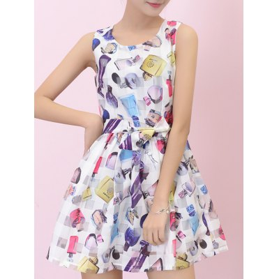 Perfume Bottle Print Bowknot Mini Flare Dress