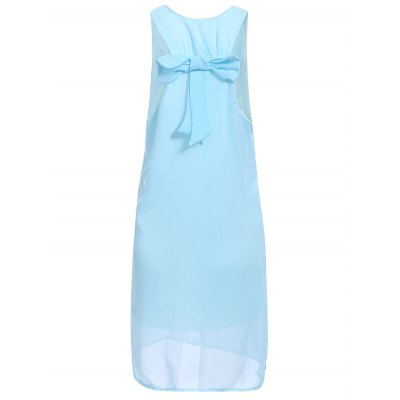 Stylish Scoop Neck Solid Color Bowknot Embellished Sleeveless Dress For Women