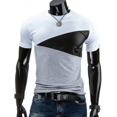 Round Collar Pullover Color Block T-Shirt For Men