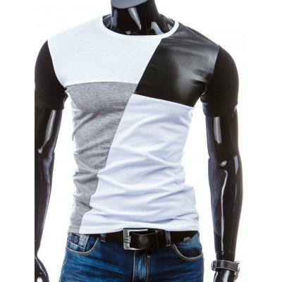 Casual Round Collar Pullover Splicing T-Shirt For Men