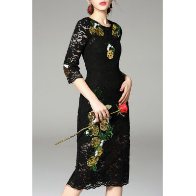 Sequined Bodycon Lace Dress