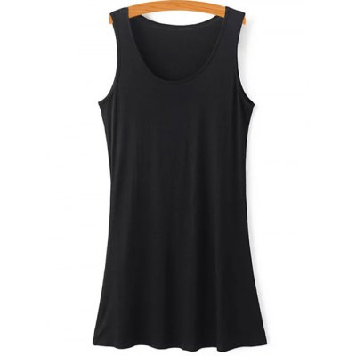 Fashion Scoop Neck Black Tank Top and Tassels Spliced Lace Dress Twinset For Women