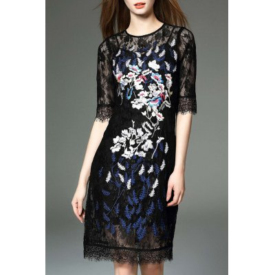 See-Through Embroidery Dress