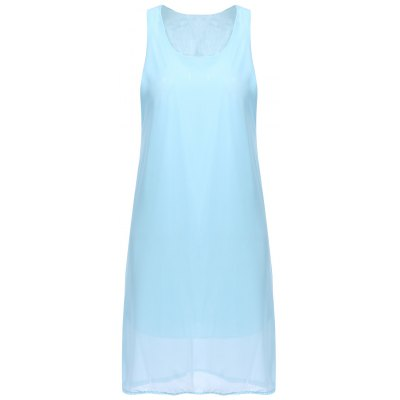 Scoop Neck Solid Color Bowknot Sleeveless Club Dress