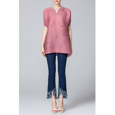 Appliqued A-Line Top + Frayed Jeans Twinset