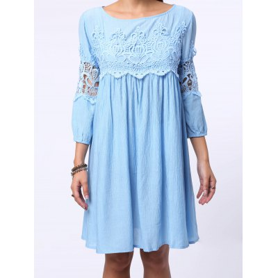 Chic Round Neck 3/4 Sleeve Cut Out Pure Color Women's Dress
