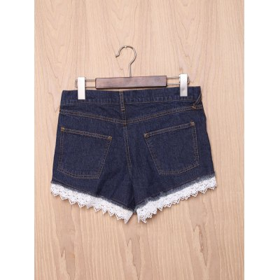 Chic High-Waisted Pocket Design Lace Spliced Women's Shorts