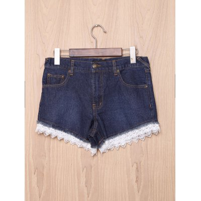 High-Waisted Pocket Design Lace Spliced Women's Shorts