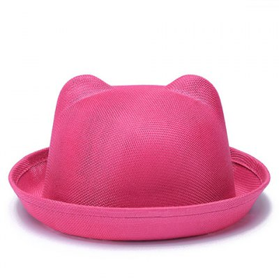 Chic Solid Color Flanging Breathable Cat Ear Fedoras For Women