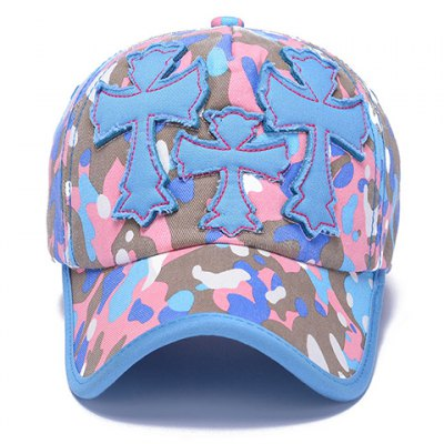 Chic Crosses Shape Embellished Camouflage Pattern Baseball Cap For Women