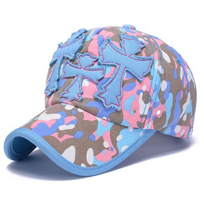 Crosses Shape Embellished Camouflage Pattern Baseball Cap For Women