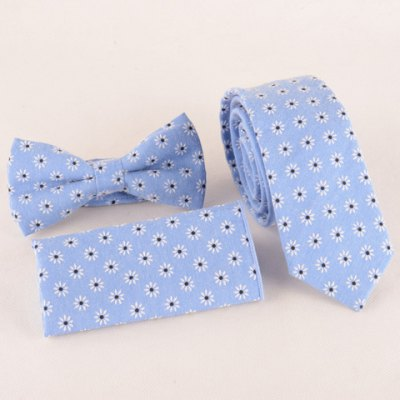 Daisy Jacquard Light Blue Tie Handkercheif and Bow Tie