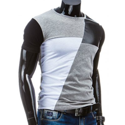 Casual Round Collar Pullover Splicing T-Shirt For MenMens Short Sleeve Tees<br>Casual Round Collar Pullover Splicing T-Shirt For Men<br><br>Collar: Round Neck<br>Material: Cotton Blends<br>Package Contents: 1 x T-Shirt<br>Pattern Type: Others<br>Sleeve Length: Short<br>Style: Casual<br>Weight: 0.1460kg