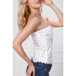cheap Solid Color Floral Bustier Strapless Corset Bra