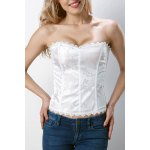 Stylish Slimming Solid Color Floral Bustier For Women