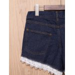 Chic High-Waisted Pocket Design Lace Spliced Women's Shorts deal