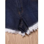 best Chic High-Waisted Pocket Design Lace Spliced Women's Shorts
