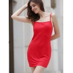 Alluring Spaghetti Strap Pure Color Open Back Women's Mini Dress deal