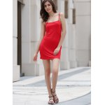 Alluring Spaghetti Strap Pure Color Open Back Women's Mini Dress for sale