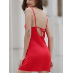 Alluring Spaghetti Strap Pure Color Open Back Women's Mini Dress