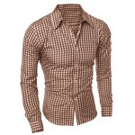 cheap Casual Turn-Down Collar Slimming Long Sleeve Checked Shirt For Men