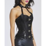cheap Trendy Keyhole Neck Stud Embellished Lace-Up Women's Bustier