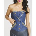 Trendy Strapless Applique Denim Stud Embellished Women's Bustier