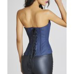 Trendy Strapless Applique Denim Stud Embellished Women's Bustier deal