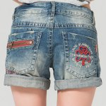 cheap Stylish Plus Size Zipper Fly Pocket Design Embroidery Shorts For Women